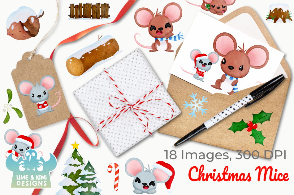 Christmas Mice Watercolor Clipart, Instant Download example image 4