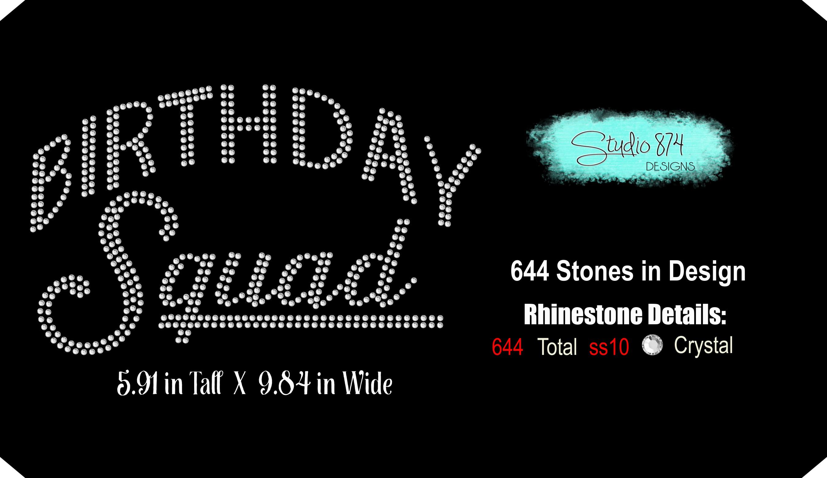 Birthday Squad - Rhinestone SVG Template example image 2