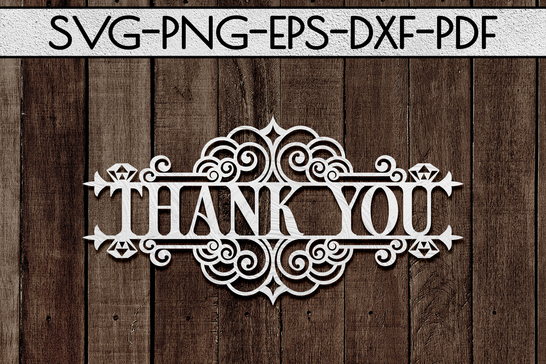 Thank You 5 Papercut Template, Appreciation Sign SVG, PDF example image 1