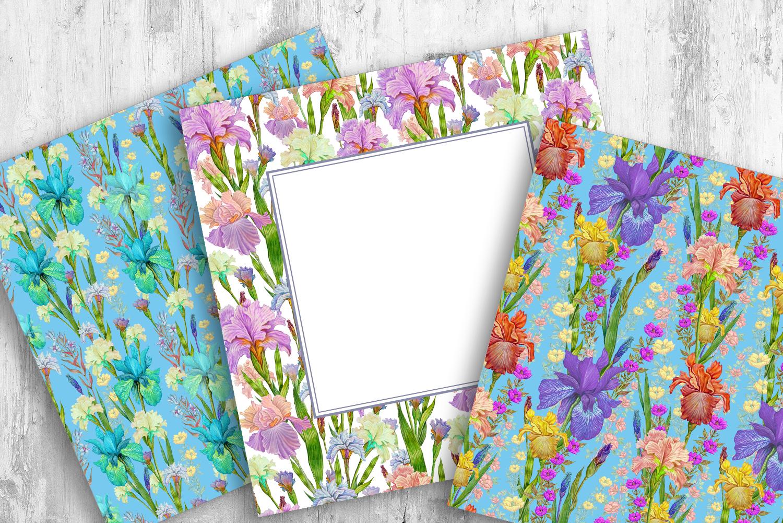 Iris digital paper. seamless pattern.Floral digital paper. example image 3