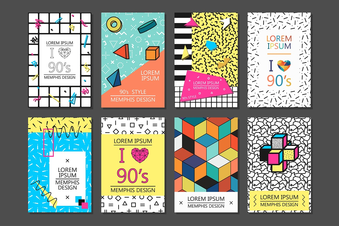 cards posters memphis design 80 90s by design bundles