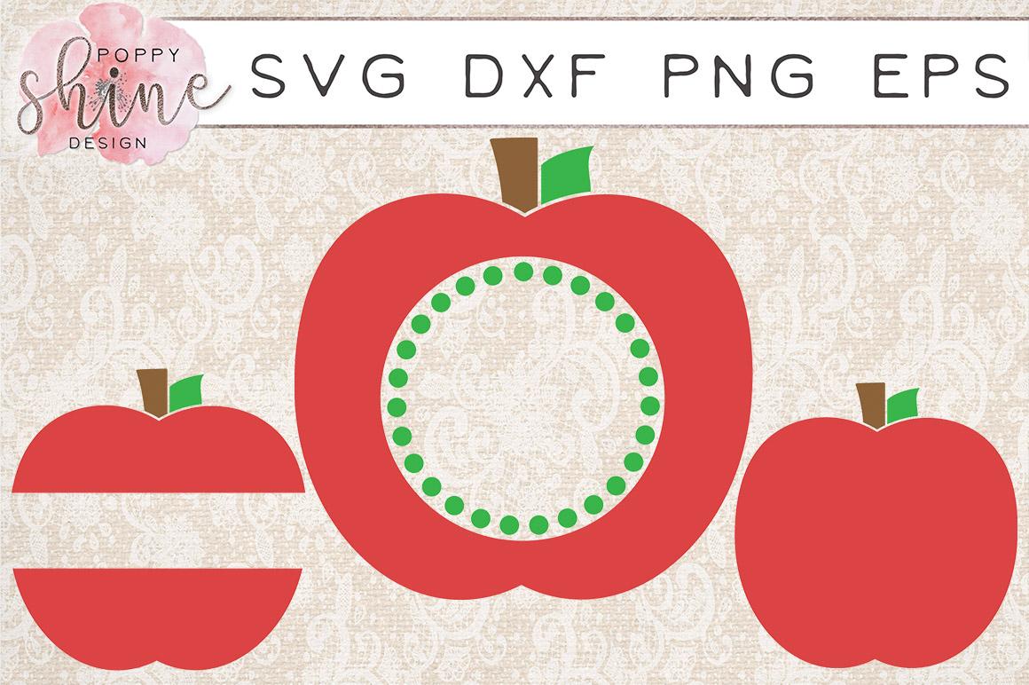 Apple Monogram Frame Bundle of 6 SVG PNG EPS DXF Cutting Files example image 2