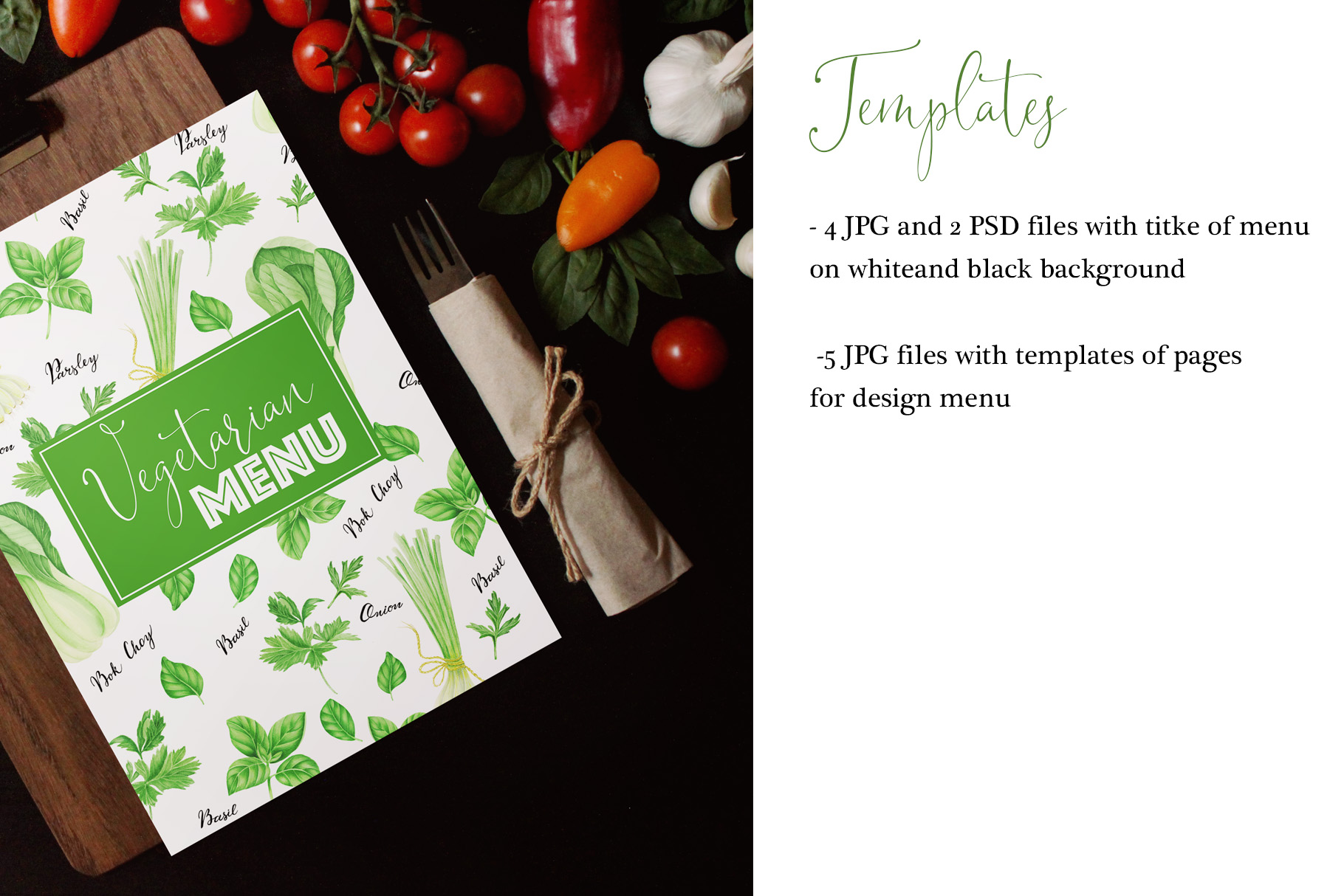 Watercolor green vegetables clipart example image 7