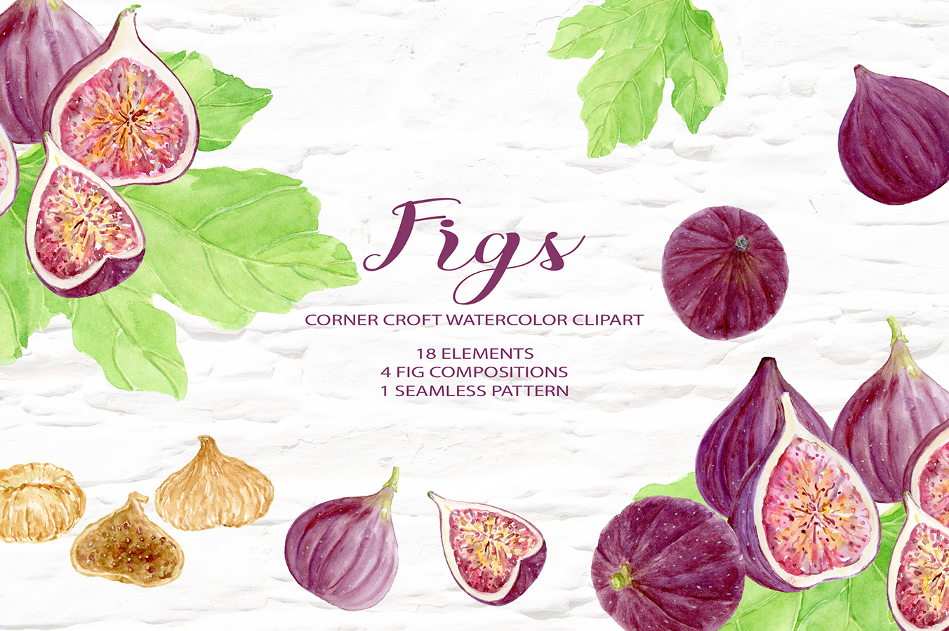 Watercolor Fruit Figs Illustration Digital download example image 1