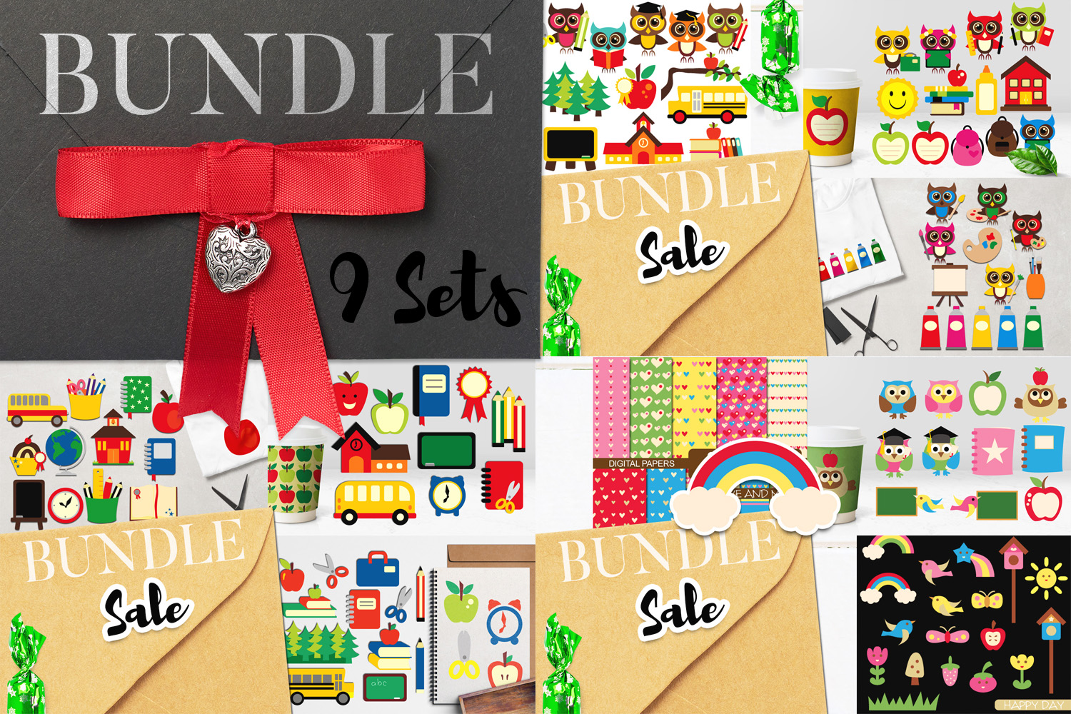 Back To School Clip Art Huge Bundle - Over 350 Graphics example image 3