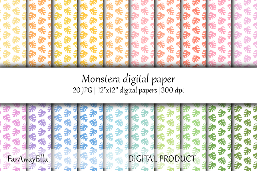 Monstera leaf JPG digital paper | 20 seamless backgrounds example image 1
