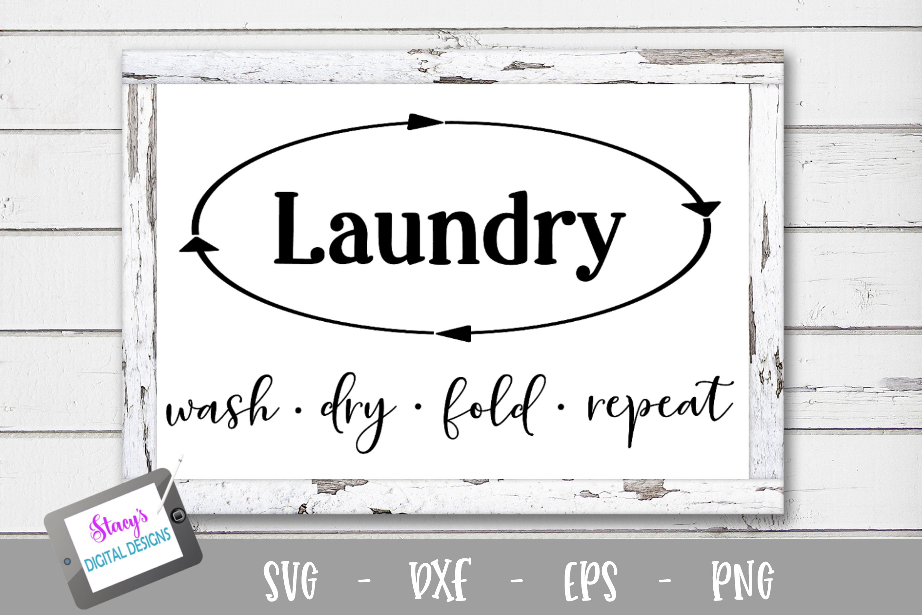 Laundry SVG - Wash dry fold repeat example image 1