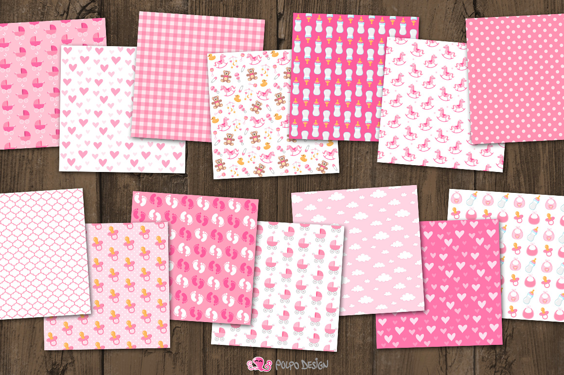 Baby Girl digital paper example image 2