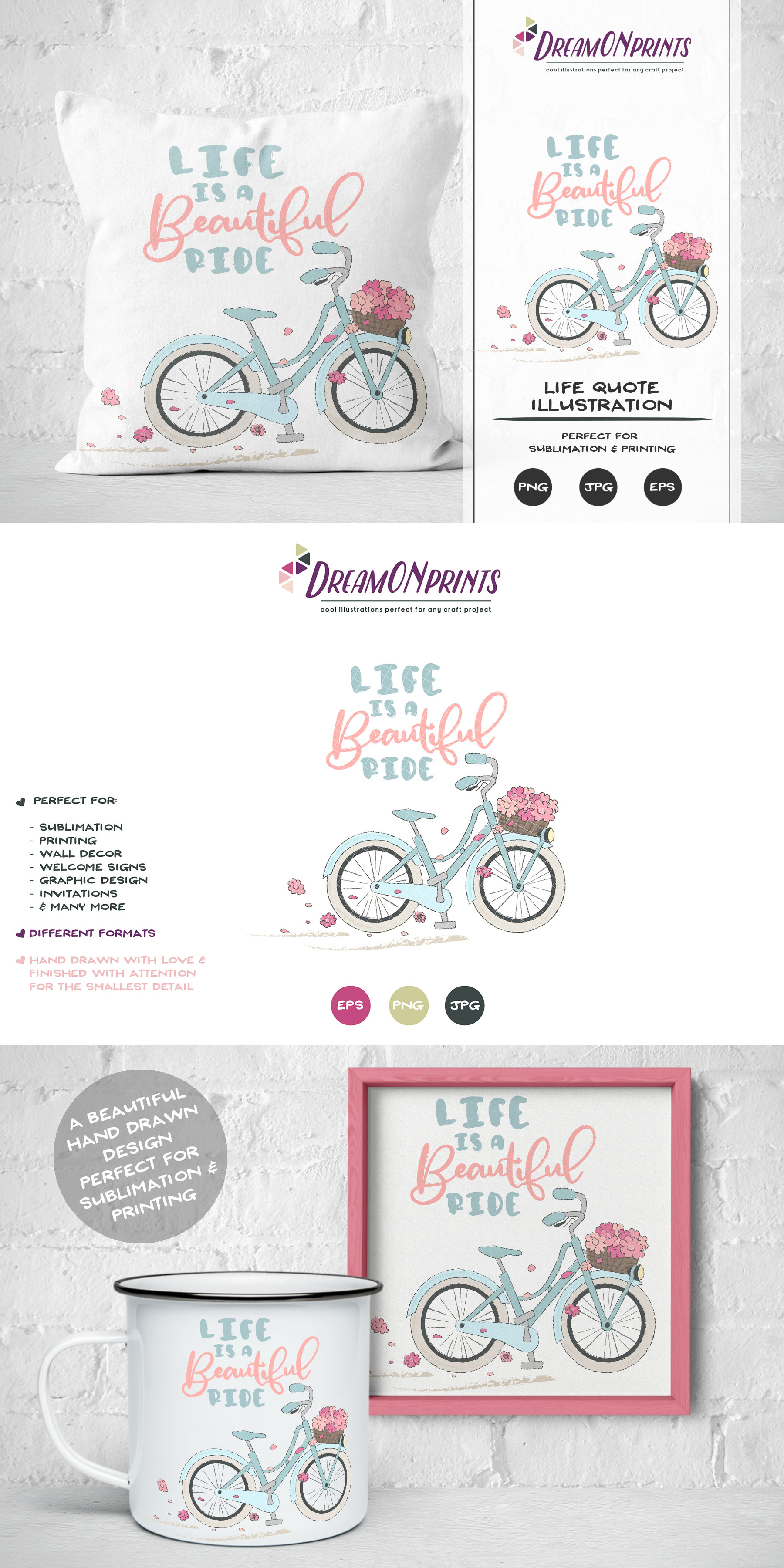 Life is a Beautiful Ride | Sublimation Life Quote with Bike example image 4