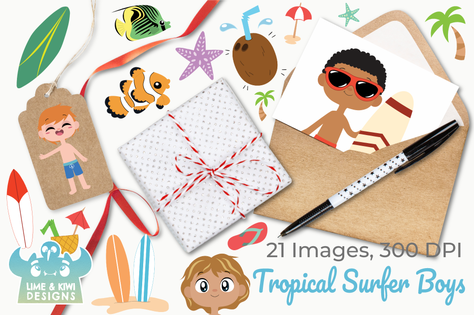 Tropical Surfer Boys Clipart, Instant Download Vector Art example image 4