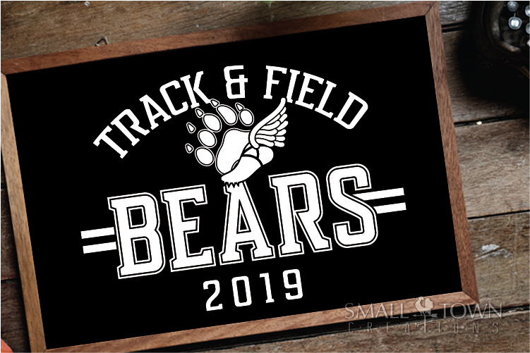 Bears Track and Field, Bear mascot, logo, PRINT, CUT, DESIGN example image 3