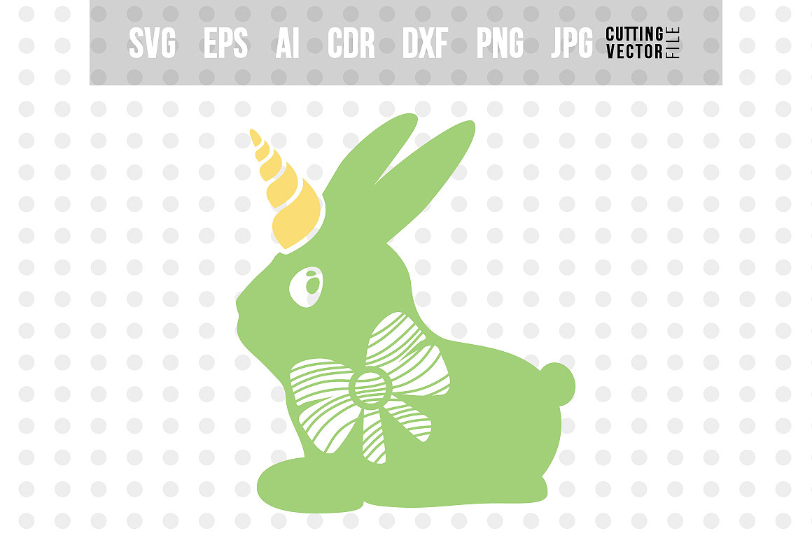 Bunny Unicorn with Bow - SVG example image 1