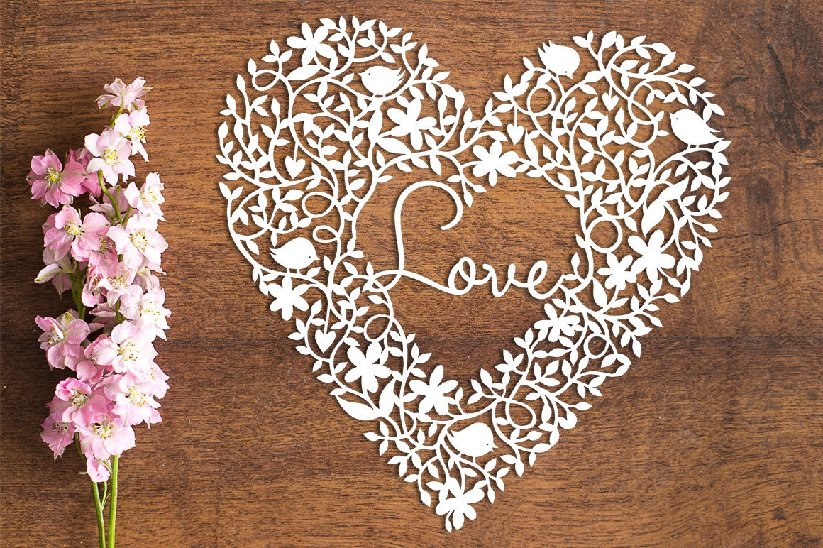 Love Heart - Paper Cutting Template example image 1