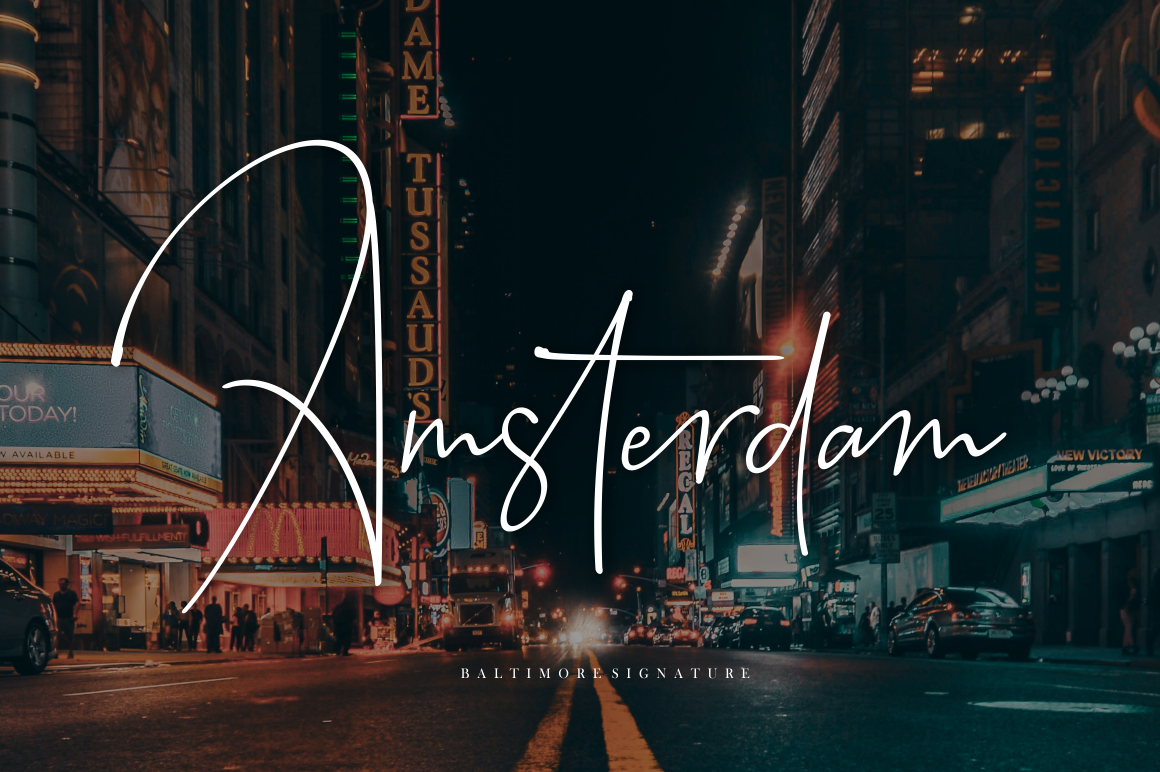 Baltimore // Straight Signature Font example image 5