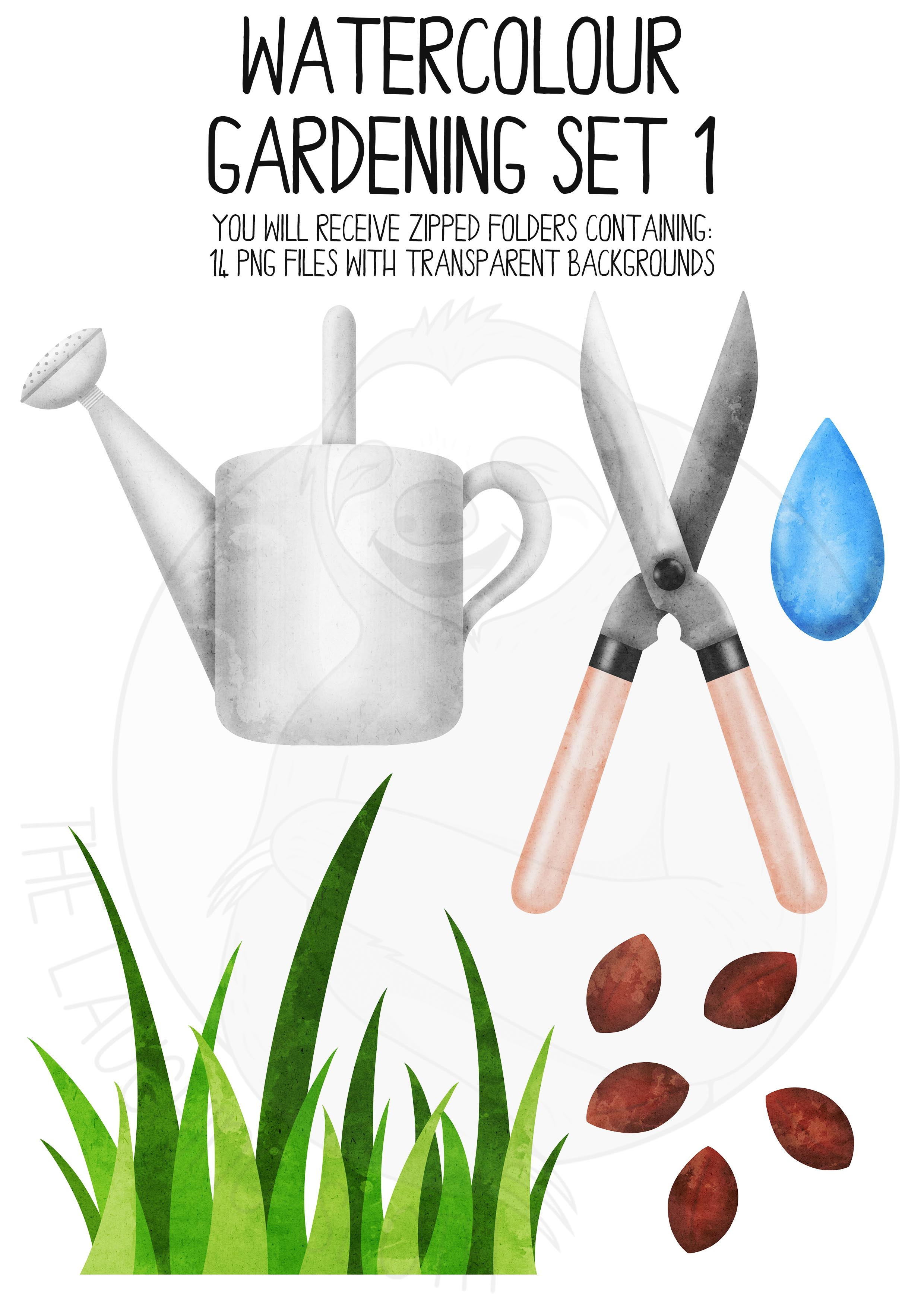 Watercolor Gardening Clip Art Set example image 4