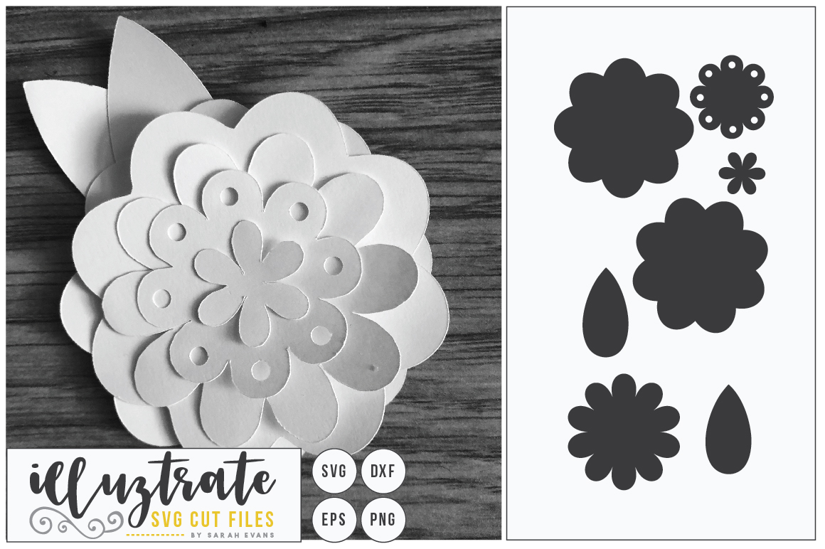 Paper Flower Template Bundle | Paper Cutting Bundle SVG example image 8