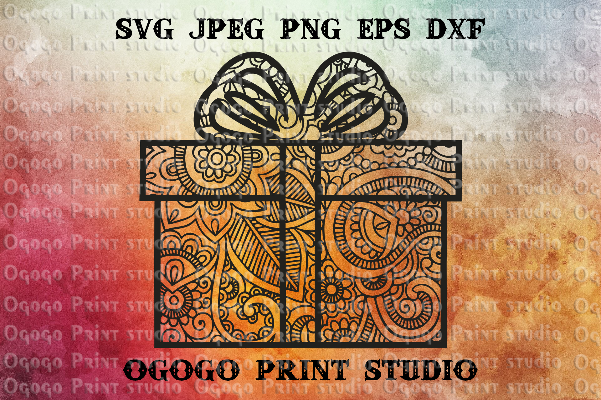Christmas Present Svg, Gift svg, Zentangle SVG, Mandala svg example image 1