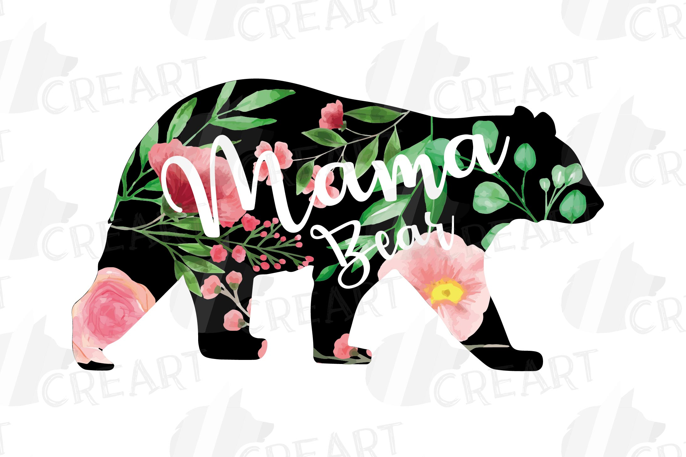 Floral bear family, sister, brother, baby, papa and mama example image 12