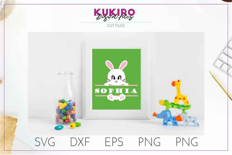 Bunny split frame - Easter cut file SVG DXF EPS PNG JPG example image 3