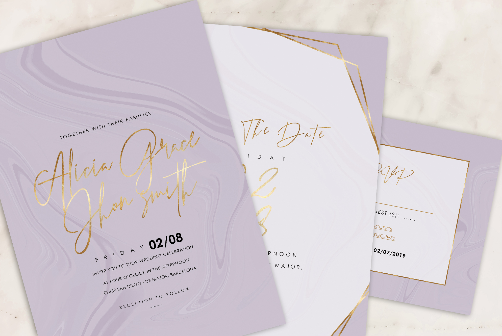 Marble Wedding Invitation - 6 Collections example image 13