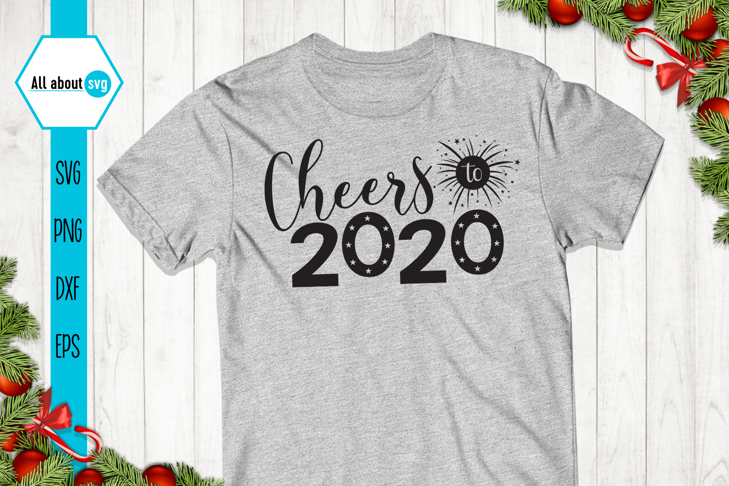 Cheers To 2020, New Year Svg example image 3