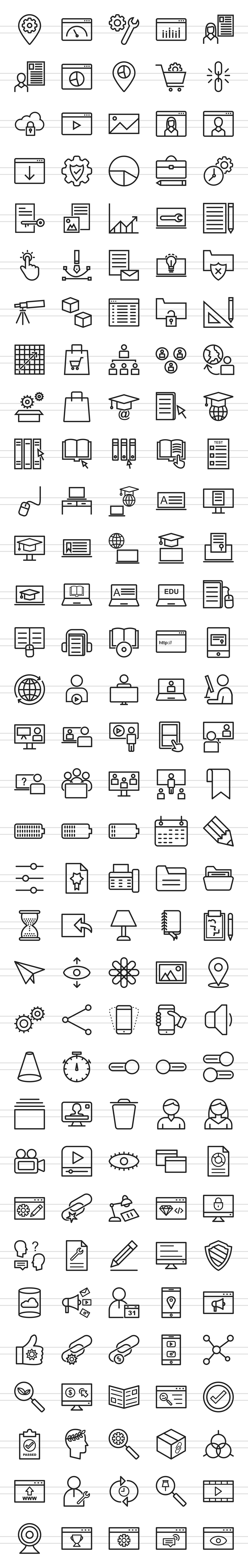 166 Web Line Icons example image 2