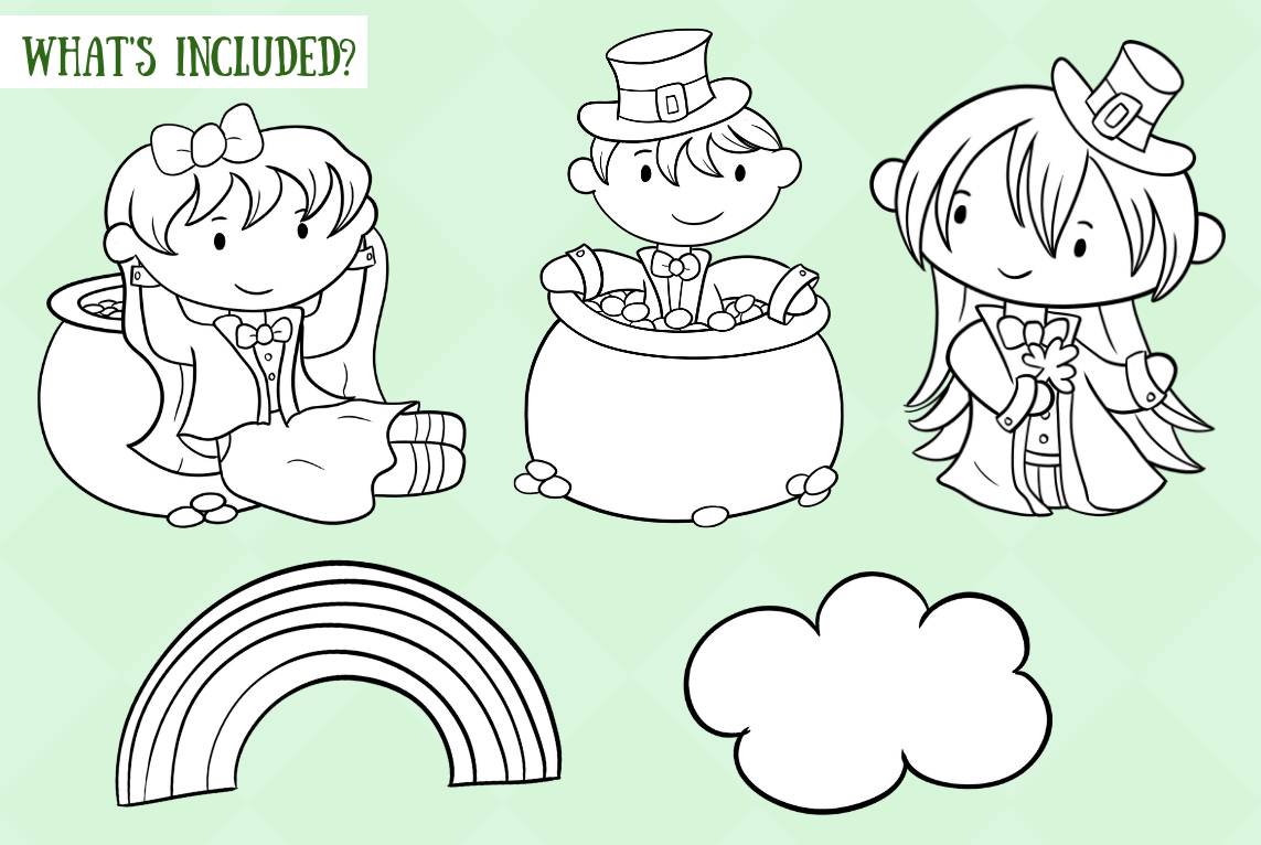 Cute St Patrick's Day Digital Stamps example image 2