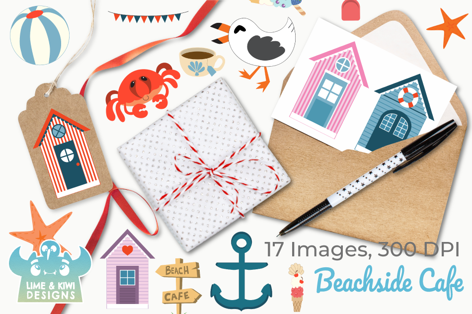 Beachside Cafe Clipart, Instant Download Vector Art example image 4