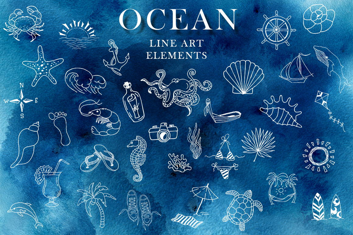 Ocean watercolor collection example image 11