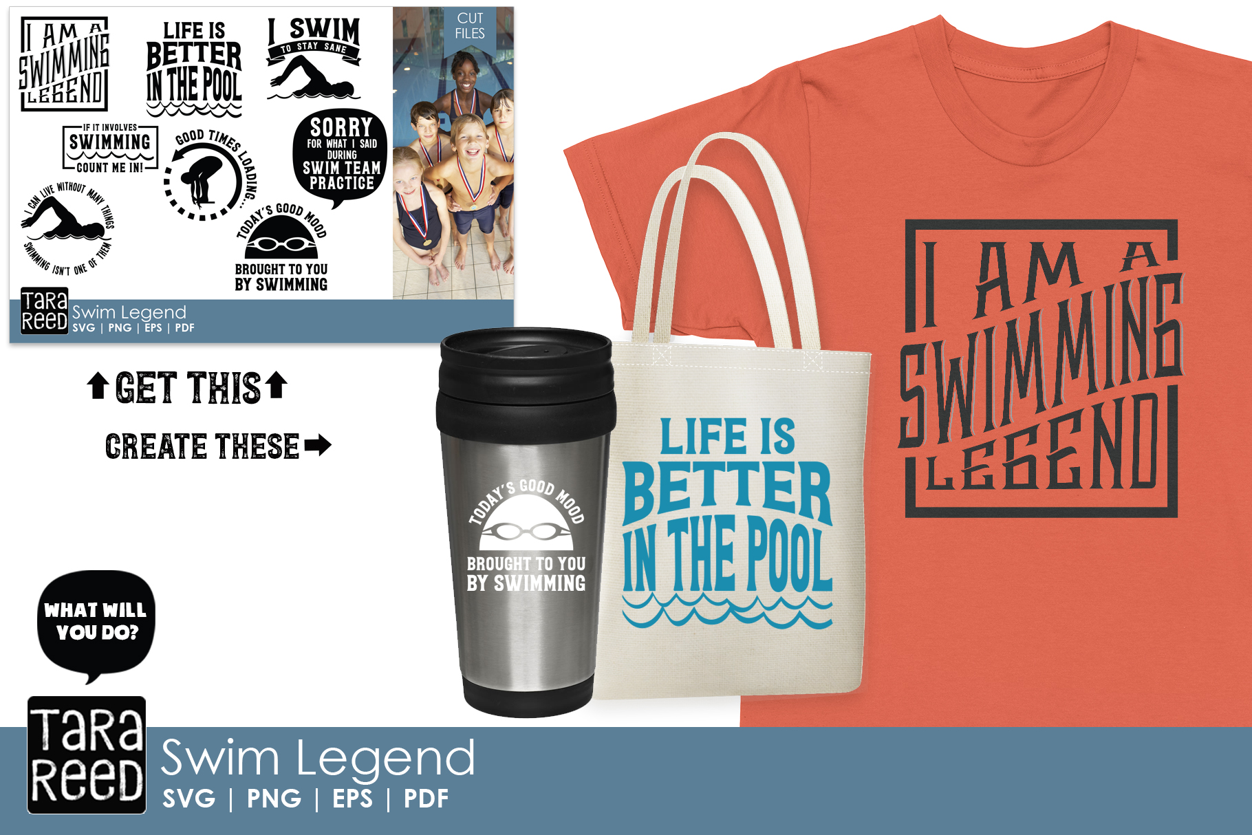 Swim Legend - Swimming SVG and Cut Files for Crafters example image 2