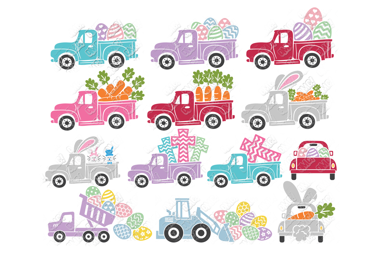 Easter Truck SVG Dump Truck in SVG, DXF, PNG, EPS, JPEG example image 1