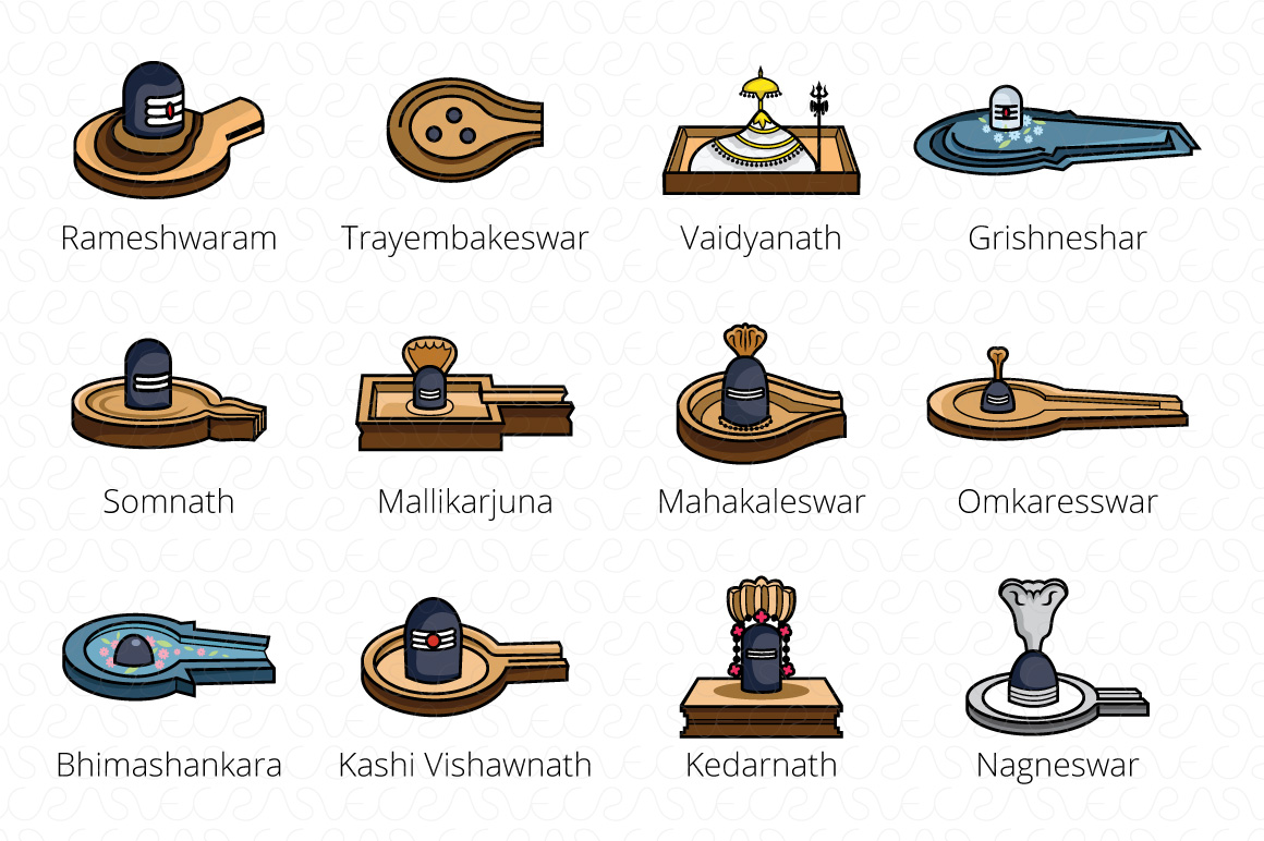 12 Jyotirilingas Jyotirilingam Vector Graphic Set of 24 example image 2