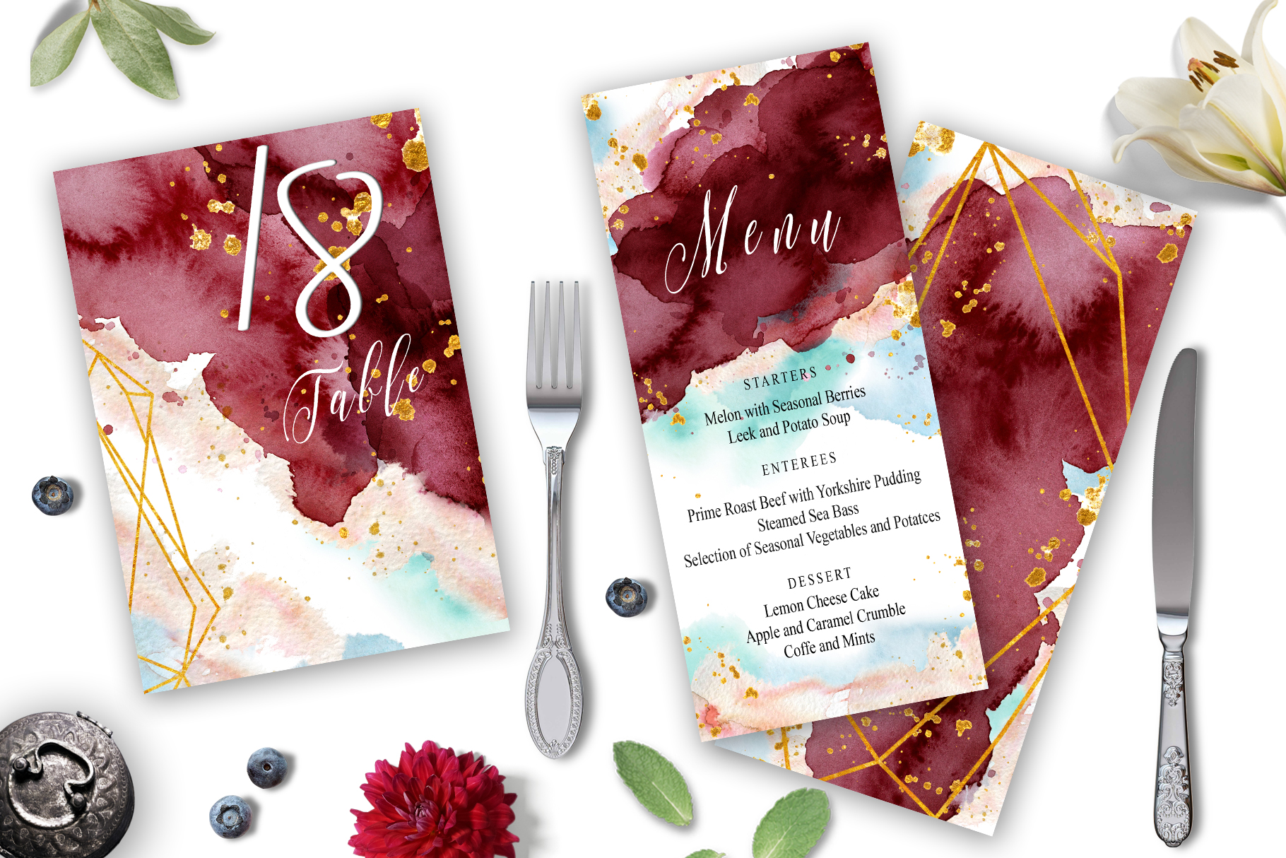 Burgundy and Gold Watercolor Wedding Invitation suite