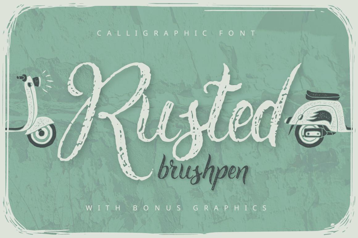 Rusted brushpen script + bonus example image 1