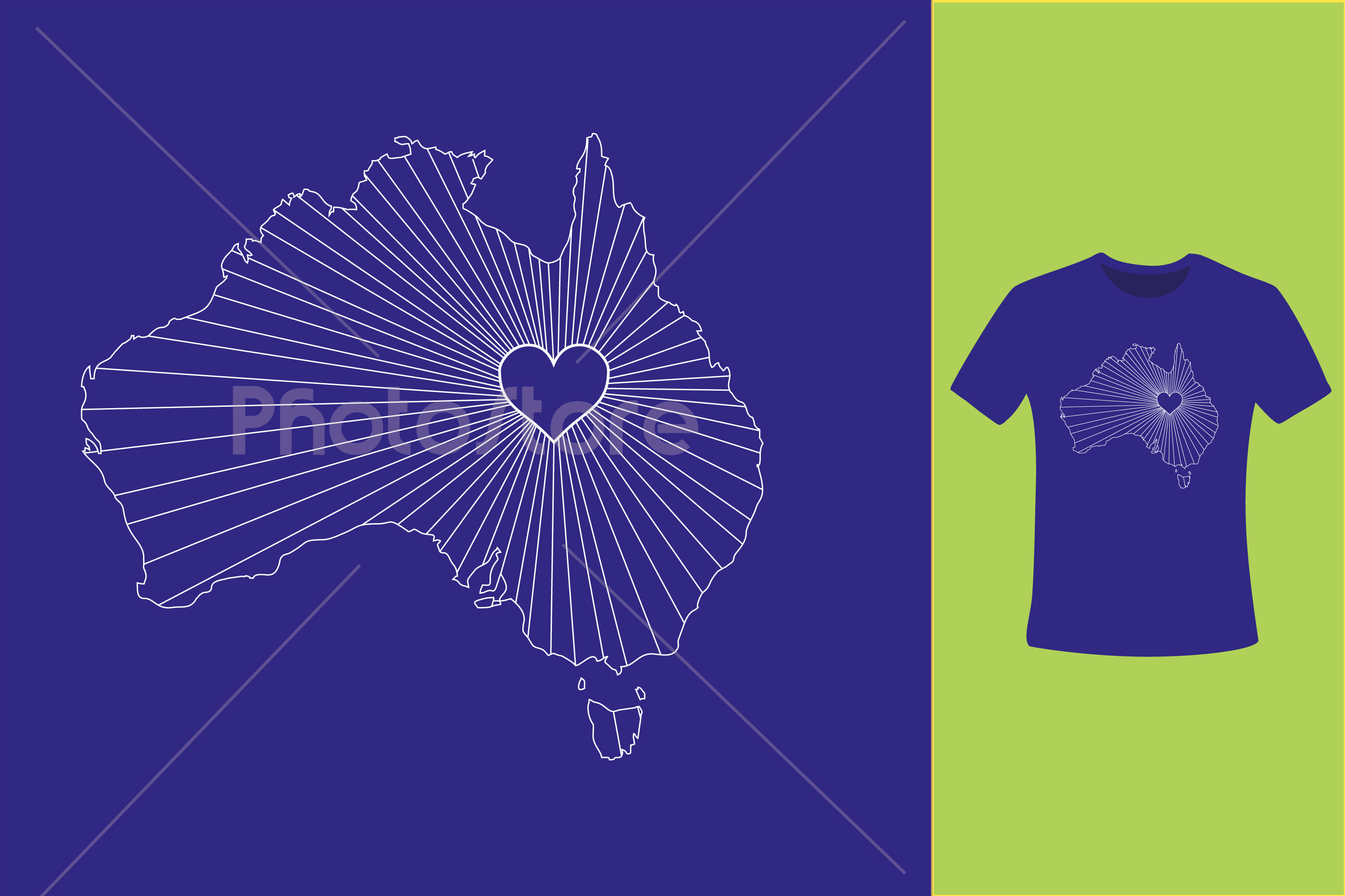I Love Australia, Country Map Silhouette example image 6