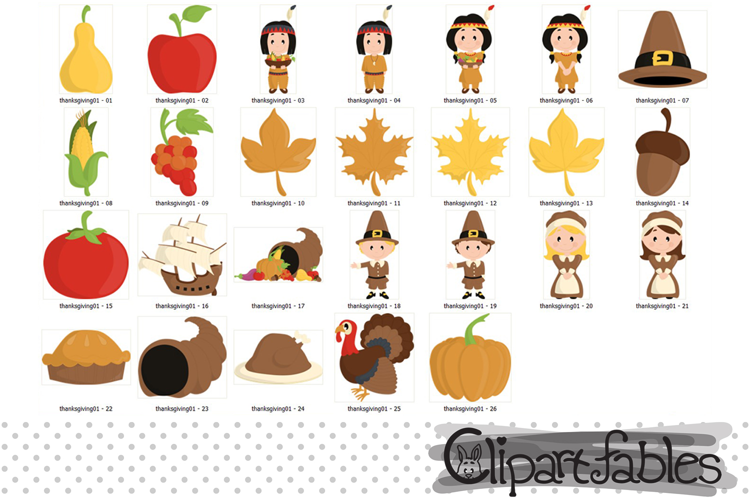 Happy Thanksgiving Day clipart, turkey, autumn art - INSTANT example image 2