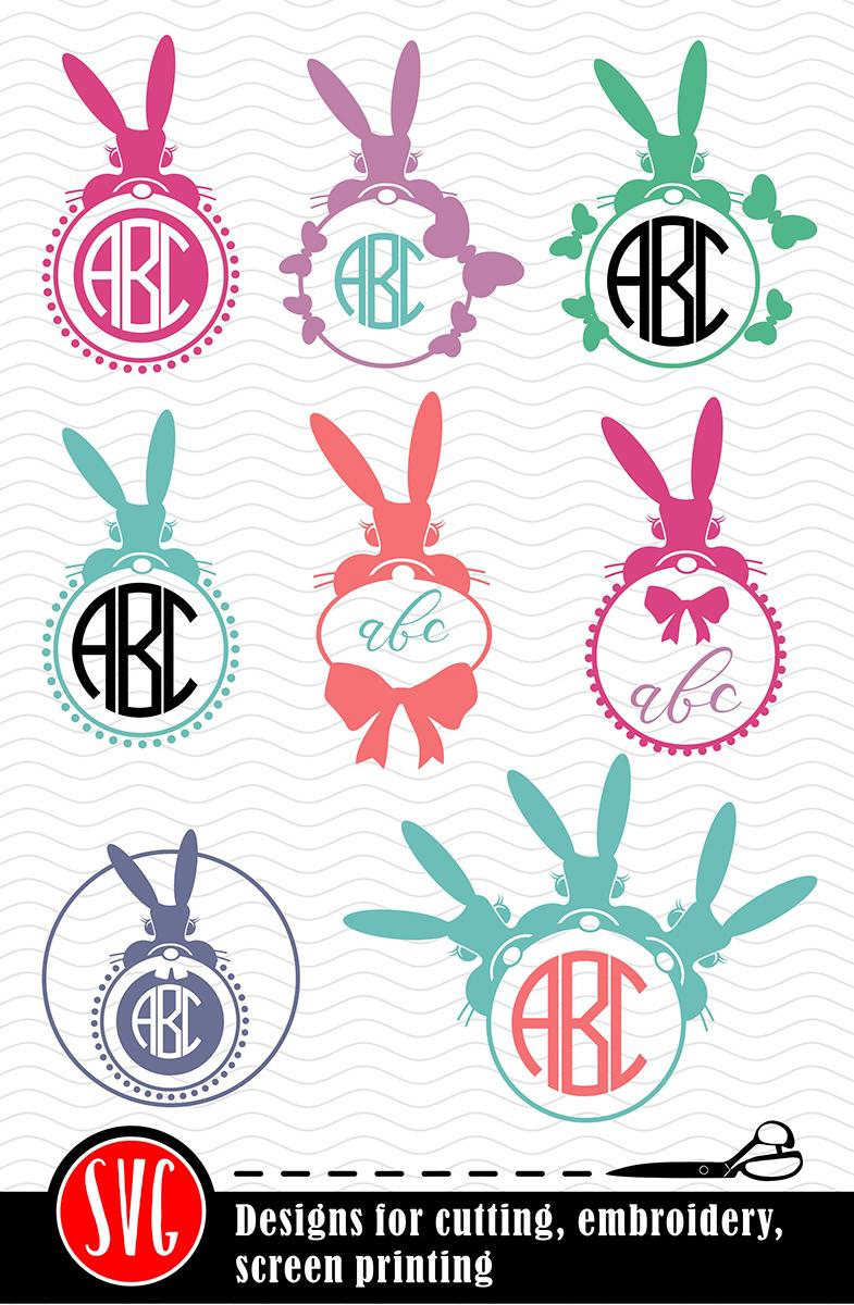 8 Bunny Monograms Bundle SVG, DXF, JPG, PNG, DWG, AI, EPS example image 2