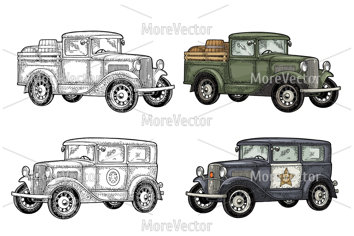Retro police car sedan with sheriff star and pickup truck with wood barrel example image 1