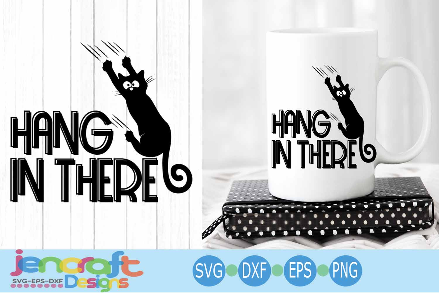 Black Cat svg, Hanging cat svg Funny Kitty -Hang in there example image 1