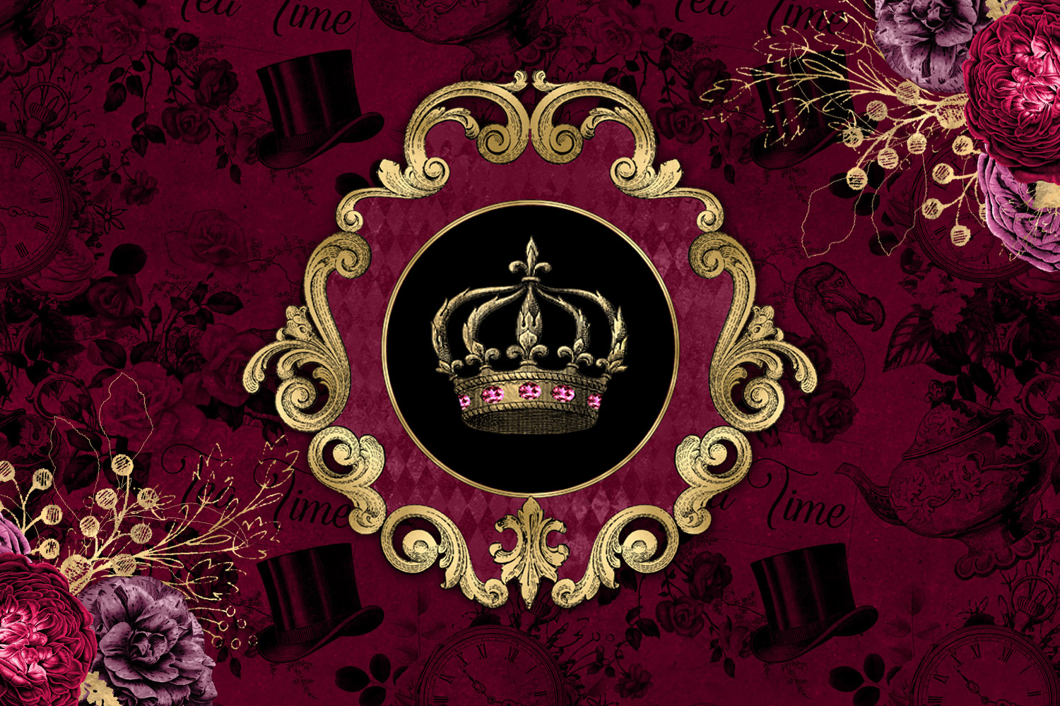 Burgundy and Gold Alice in Wonderland Graphics example image 3