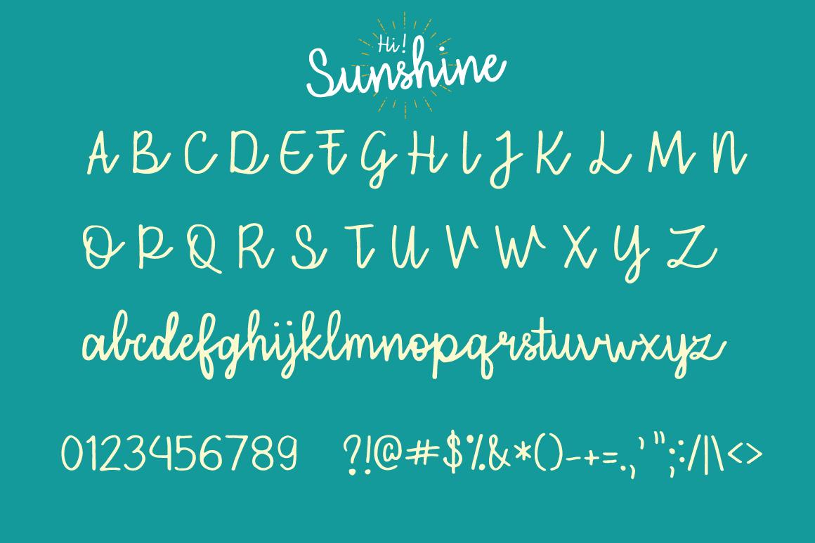 Hi Sunshine | Script font example image 8