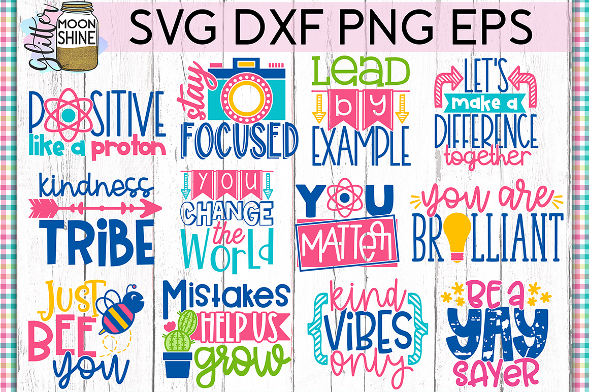 Positivity Bundle of 19 SVG DXF PNG EPS Cutting Files example image 2