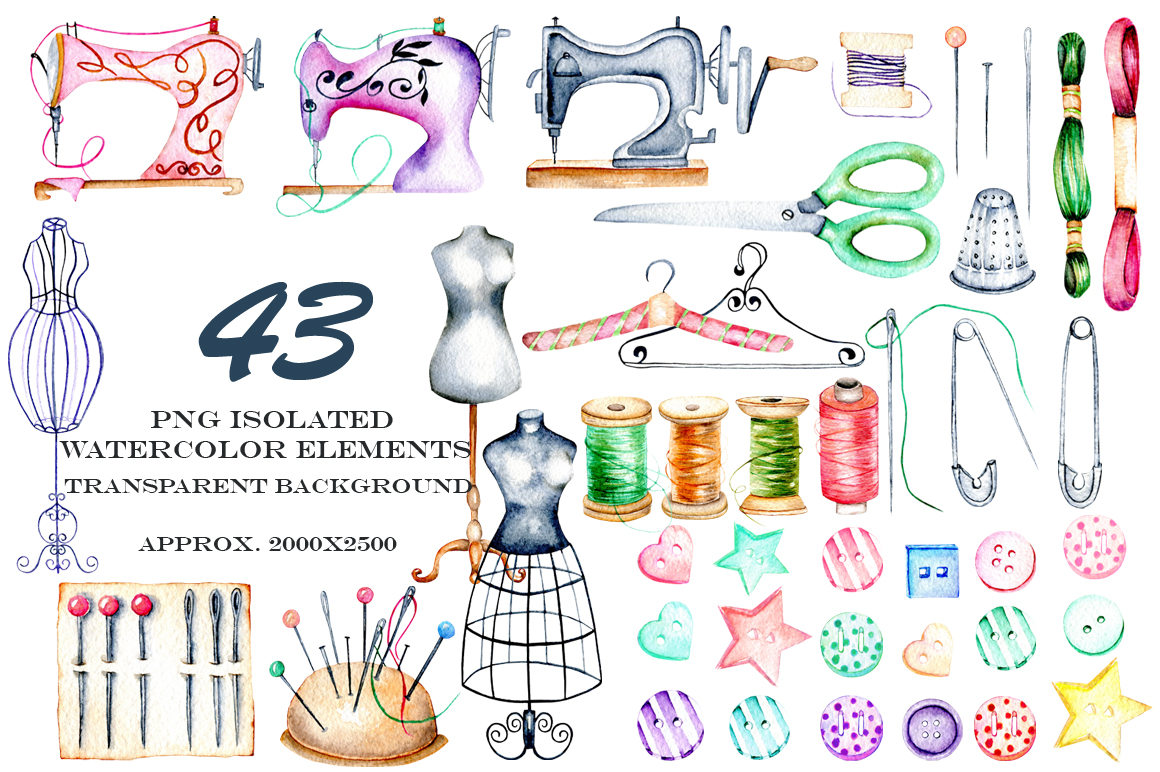 Sewing. Watercolor clipart example image 5