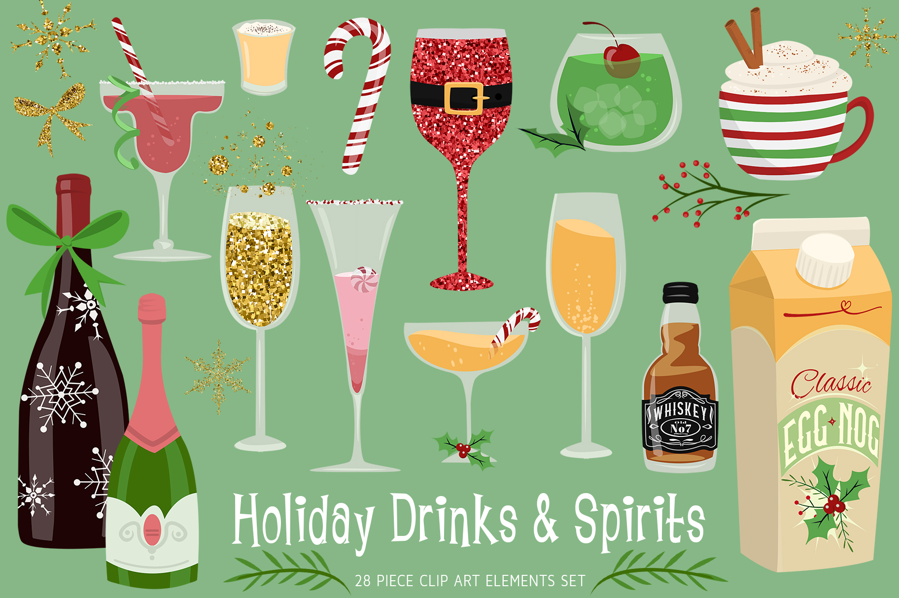 Holiday Drinks & Spirits Clip Art Collection example image 1