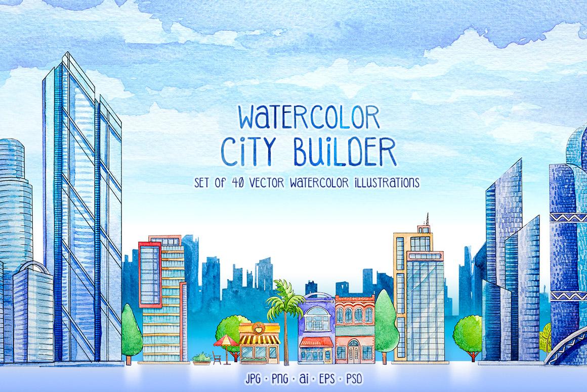 City Builder. Watercolor. example image 1
