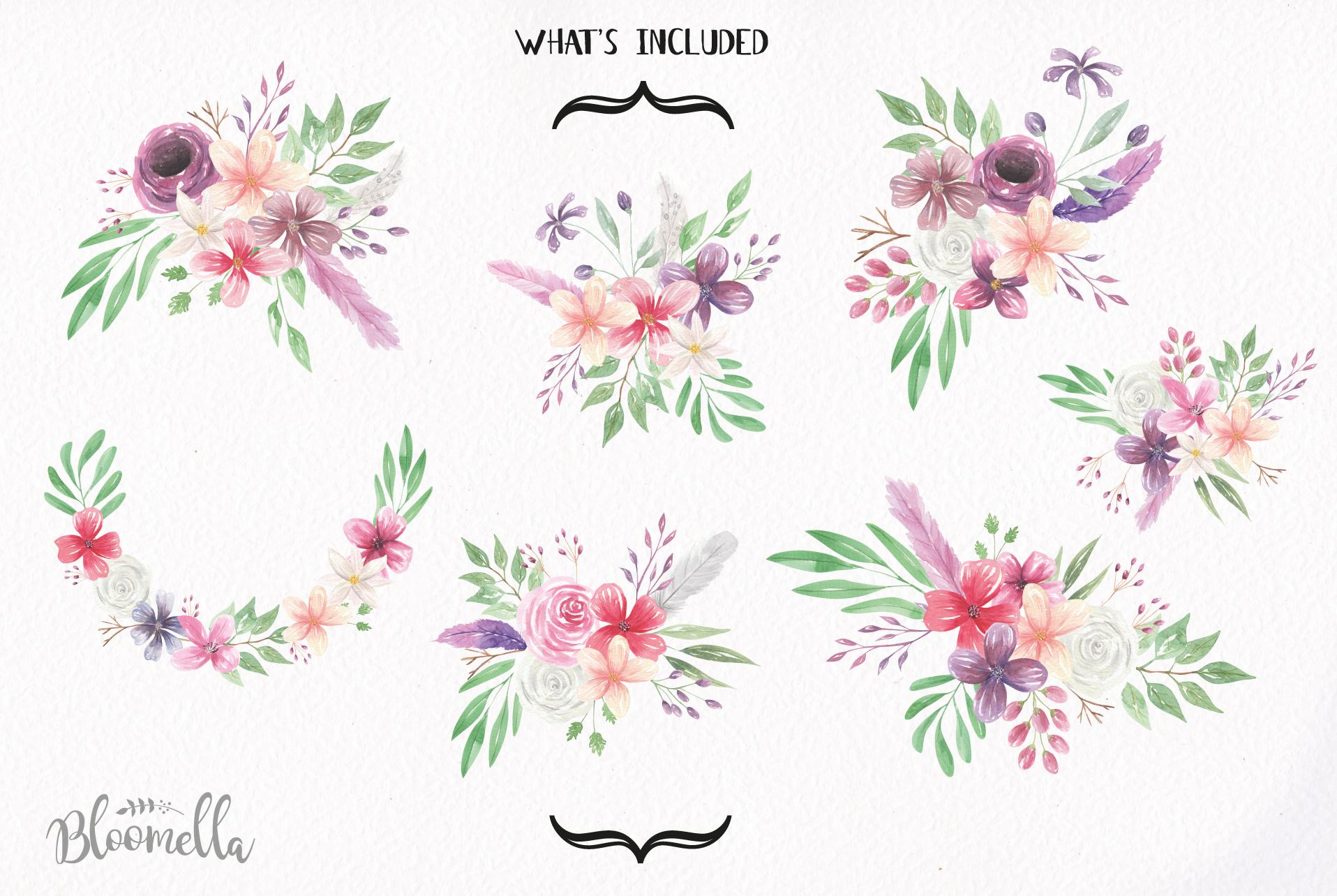 Watercolor Bohemian Clipart Bouquets Flowers Pink Purple ...