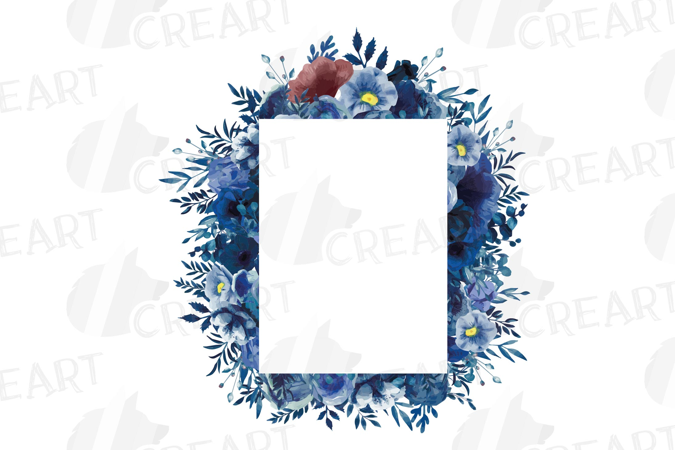 Watercolor elegant navy blue and blush floral borders vector example image 20