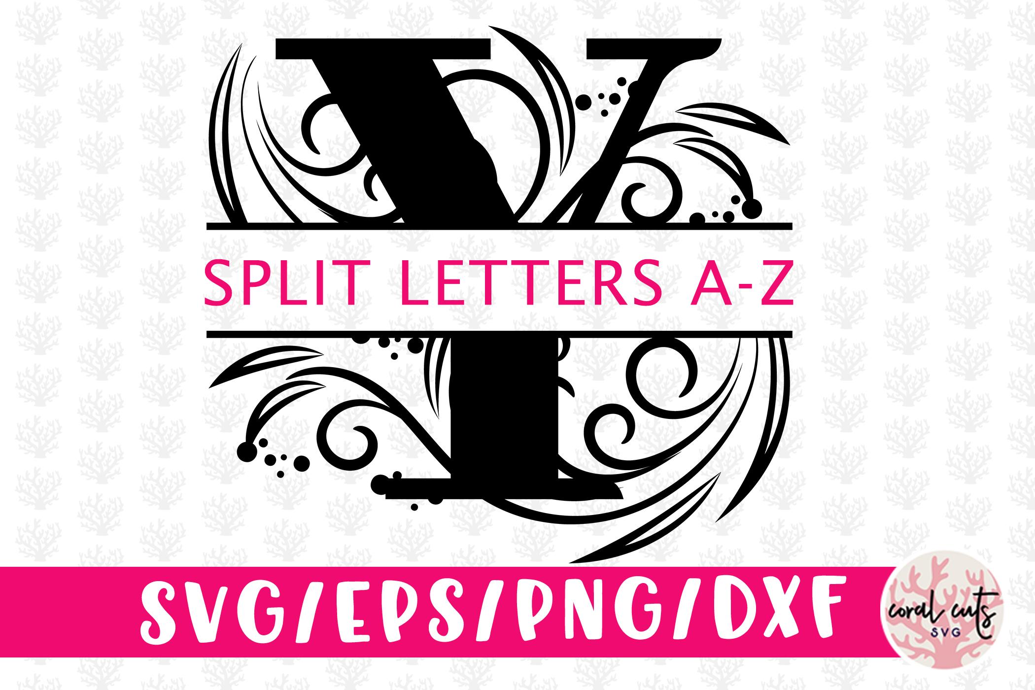 Floral Split Monogram Cut Files - Svg EPS DXF PNG File example image 1