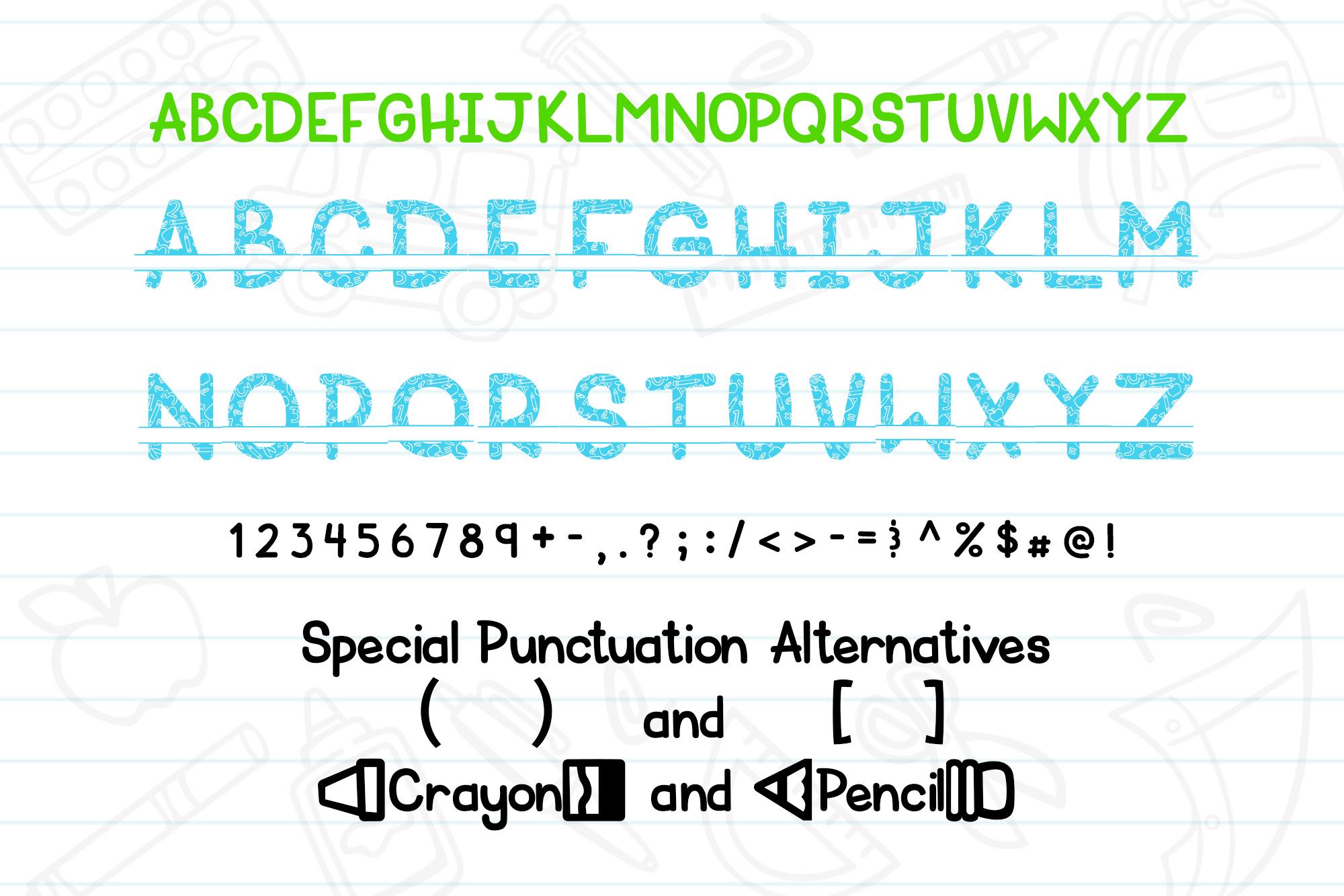 Schoolish Monogram Maker| Back to school font|Free Doodles example image 2