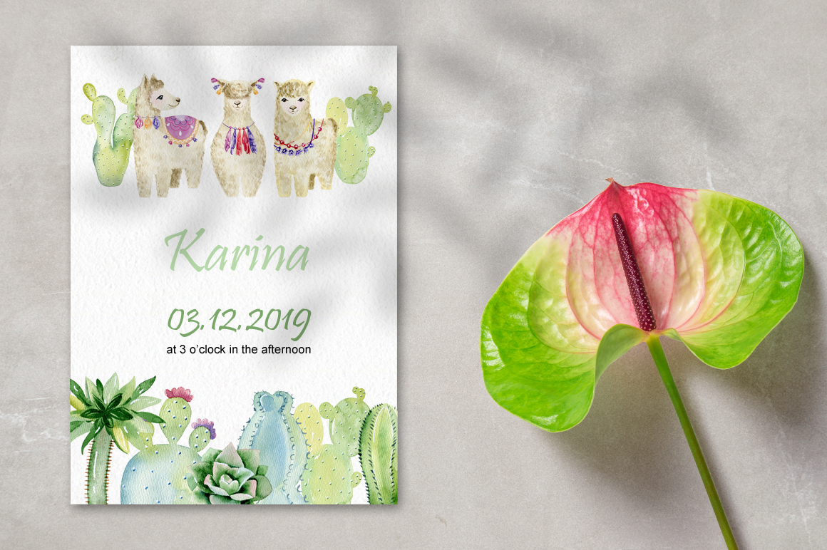 Watercolor llamas. Kit. example image 10